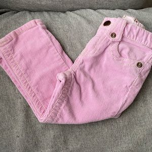 Light pink straight leg corduroy pants